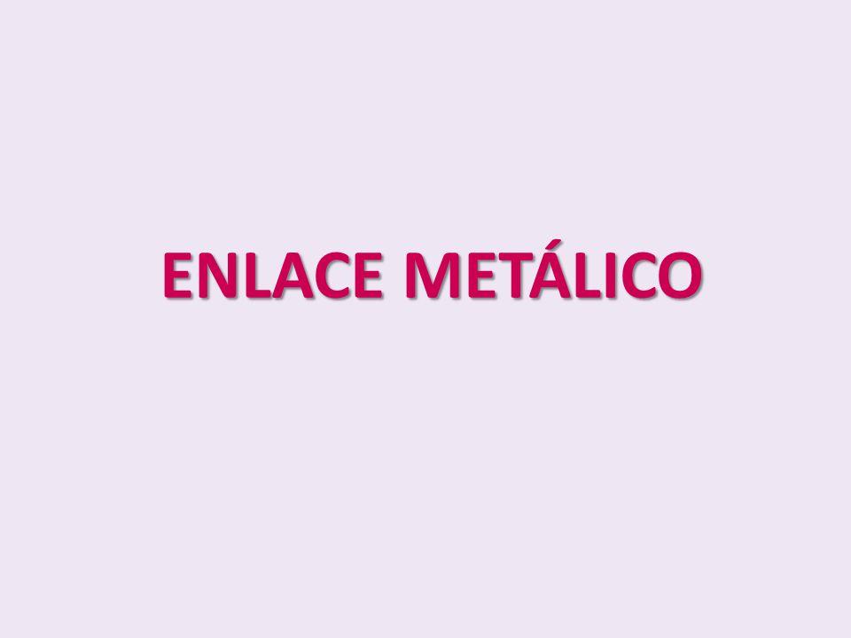 OBJETIVO Conocer como se produce el enlace metálico Conocer las propiedades y características del enlace metálico Reconocer a los electrones de valencia como los responsables del enlace Describir la disposición de los electrones en un metal formando enlace metálico Explicar la importancia de las aleaciones