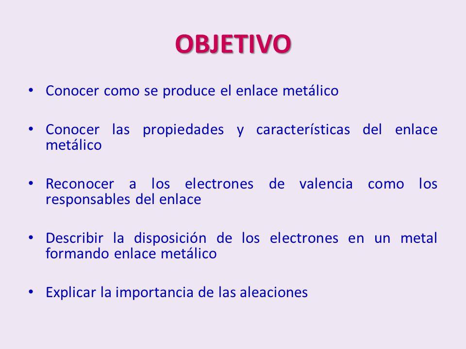 OBJETIVO Conocer como se produce el enlace metálico Conocer las propiedades y características del enlace metálico Reconocer a los electrones de valenc