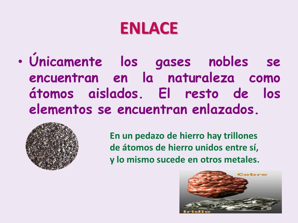 Únicamente los gases nobles se encuentran en la naturaleza como átomos aislados. El resto de los elementos se encuentran enlazados. ENLACE En un pedaz