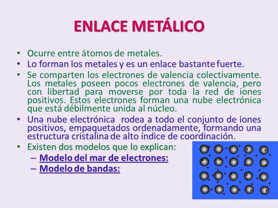 ENLACE METÁLICO O Ocurre entre átomos de metales. Lo forman los metales y es un enlace bastante fuerte. Lo forman los metales y es un enlace bastante