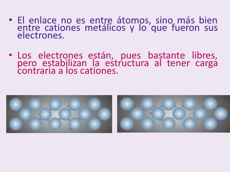 El enlace no es entre átomos, sino más bien entre cationes metálicos y lo que fueron sus electrones. Los electrones están, pues bastante libres, pero