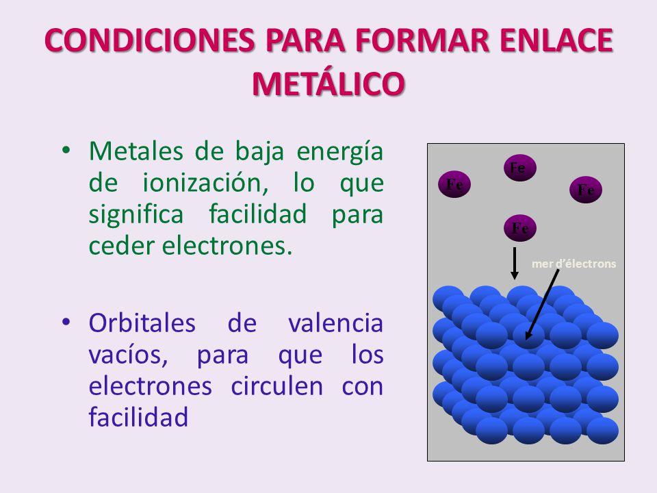 CONDICIONES PARA FORMAR ENLACE METÁLICO Metales de baja energía de ionización, lo que significa facilidad para ceder electrones. Orbitales de valencia