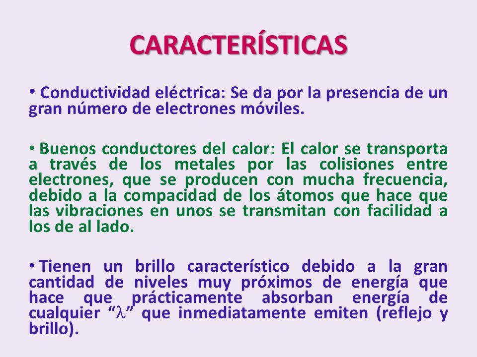 CARACTERÍSTICAS Conductividad eléctrica: Se da por la presencia de un gran número de electrones móviles. Buenos conductores del calor: El calor se tra