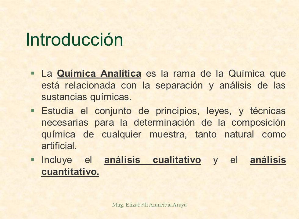 Mag. Elizabeth Arancibia Araya Introducción §¿Qué es la Química Analítica ?