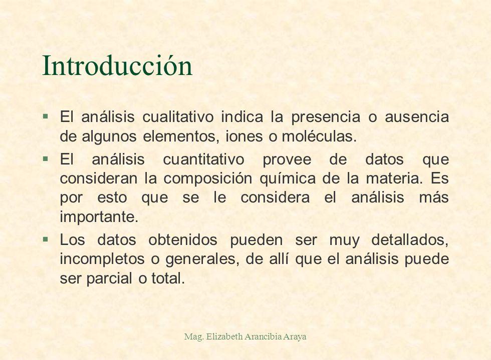 Mag. Elizabeth Arancibia Araya Introducción §El análisis químico cualitativo responde a la pregunta de ¿qué? está presente en una muestra. §El análisi