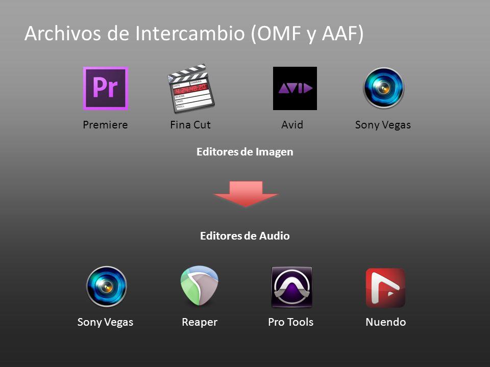 Editores de Imagen Editores de Audio PremiereFina CutAvidSony Vegas ReaperPro ToolsNuendo