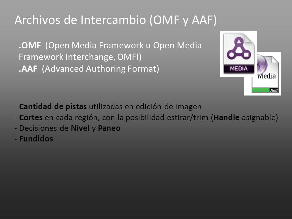 Archivos de Intercambio (OMF y AAF).OMF (Open Media Framework u Open Media Framework Interchange, OMFI).AAF (Advanced Authoring Format) - Cantidad de