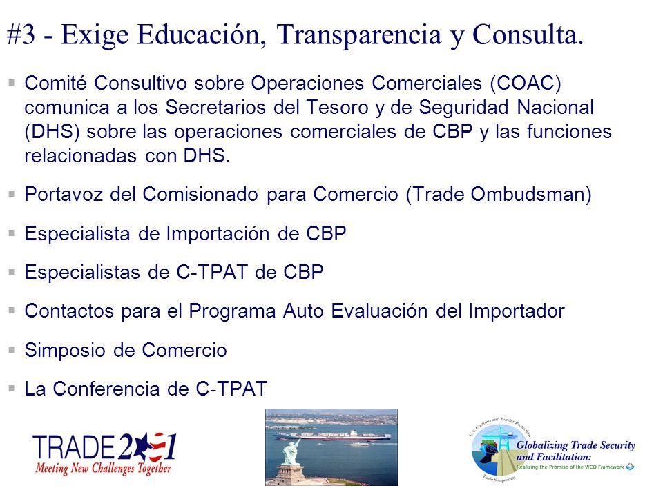 #3 - Exige Educación, Transparencia y Consulta. Comité Consultivo sobre Operaciones Comerciales (COAC) comunica a los Secretarios del Tesoro y de Segu
