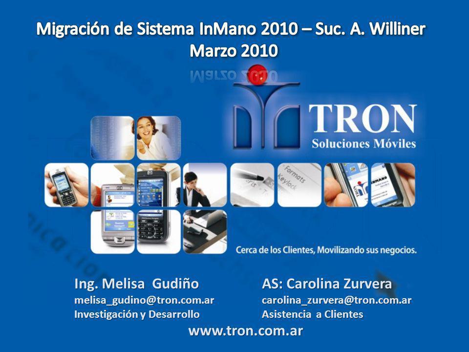 Ing. Melisa Gudiño AS: Carolina Zurvera melisa_gudino@tron.com.ar carolina_zurvera@tron.com.ar Investigación y DesarrolloAsistencia a Clientes www.tro