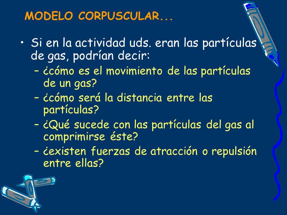 MODELO CORPUSCULAR... Si en la actividad uds. eran las partículas de gas, podrían decir: –¿cómo es el movimiento de las partículas de un gas? –¿cómo s