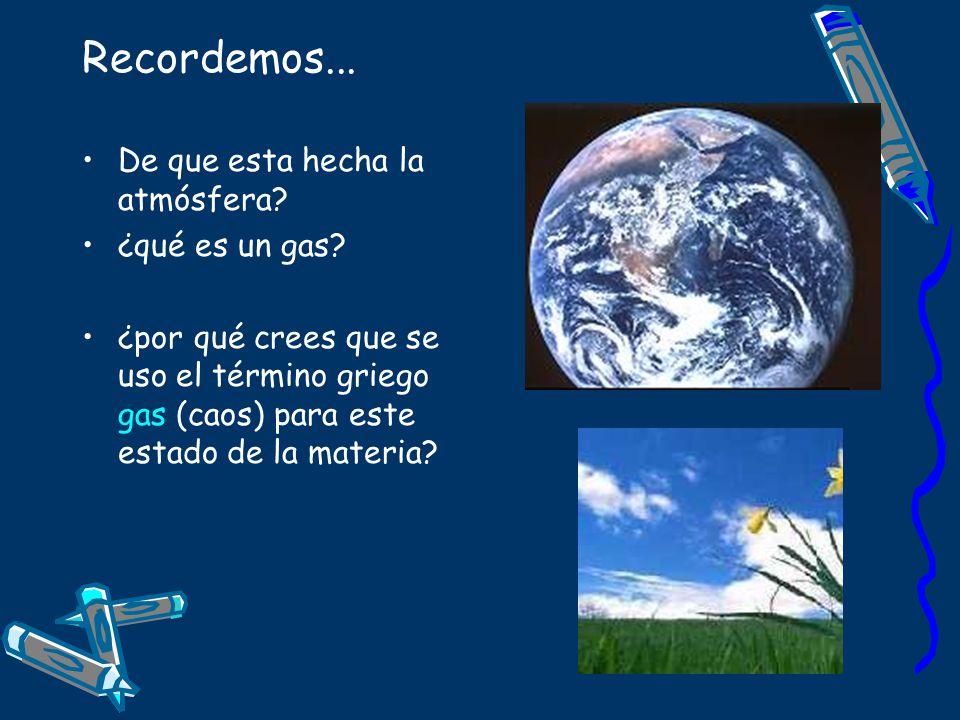 Recordemos... De que esta hecha la atmósfera? ¿qué es un gas? ¿por qué crees que se uso el término griego gas (caos) para este estado de la materia?