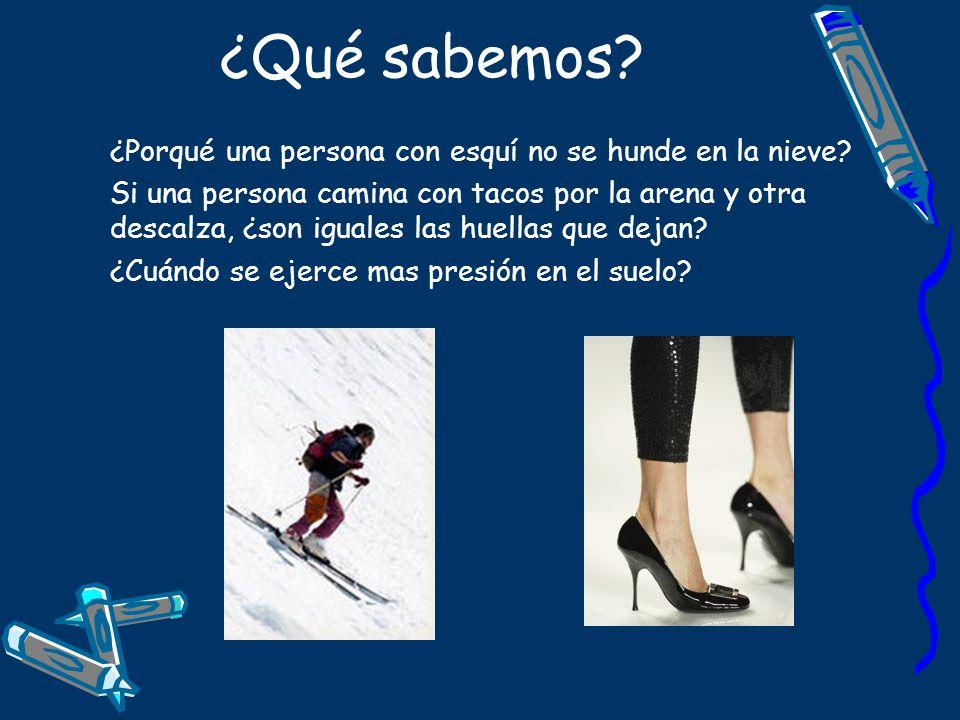 ¿Qué sabemos? ¿Porqué una persona con esquí no se hunde en la nieve? Si una persona camina con tacos por la arena y otra descalza, ¿son iguales las hu