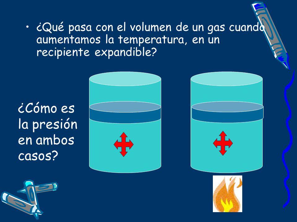 ¿Qué pasa con el volumen de un gas cuando aumentamos la temperatura, en un recipiente expandible? ¿Cómo es la presión en ambos casos?