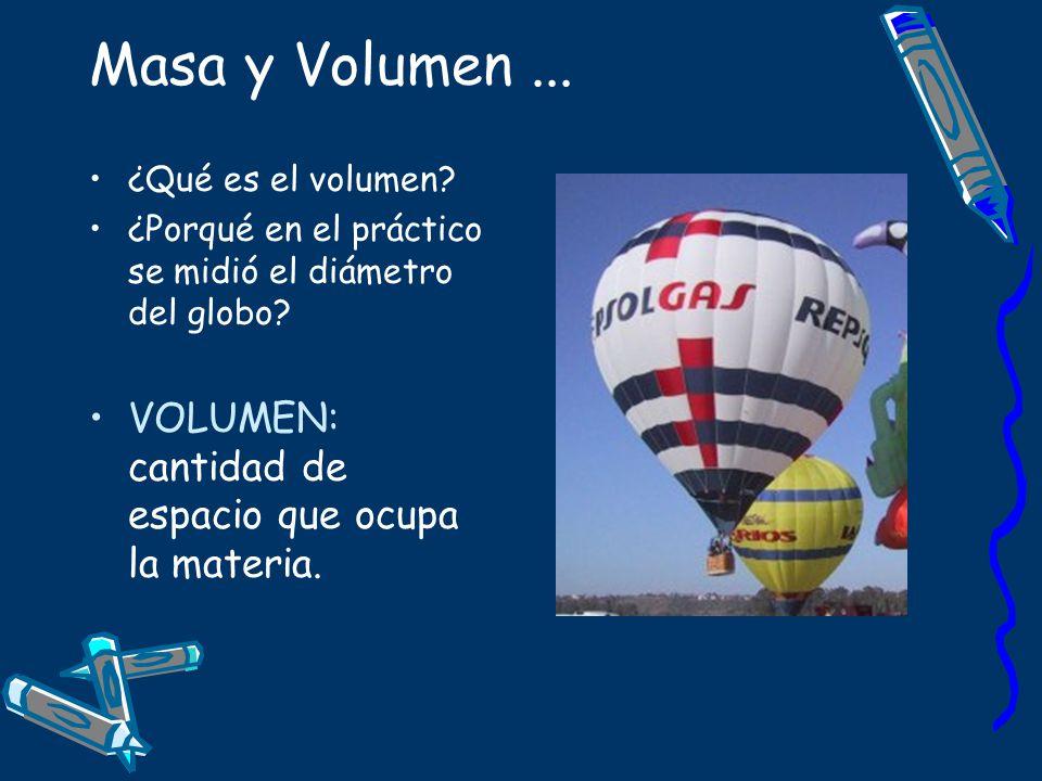 Masa y Volumen... ¿Qué es el volumen? ¿Porqué en el práctico se midió el diámetro del globo? VOLUMEN: cantidad de espacio que ocupa la materia.