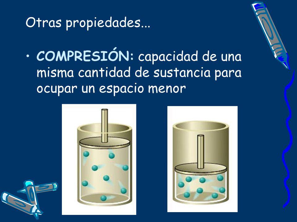 Otras propiedades... COMPRESIÓN: capacidad de una misma cantidad de sustancia para ocupar un espacio menor