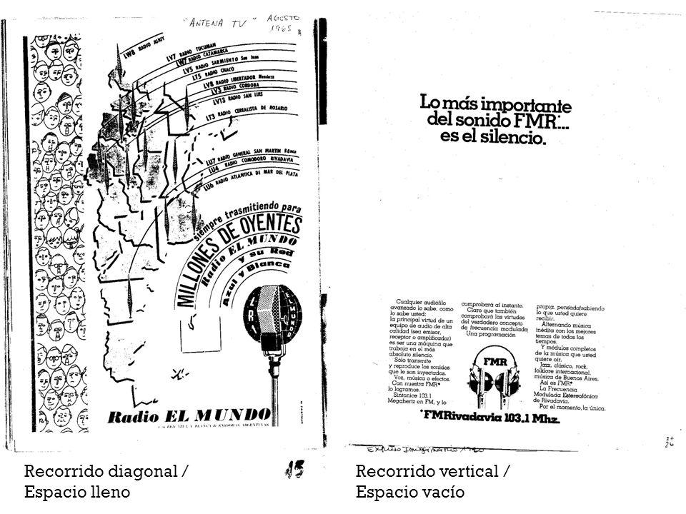 Recorrido diagonal / Espacio lleno Recorrido vertical / Espacio vacío