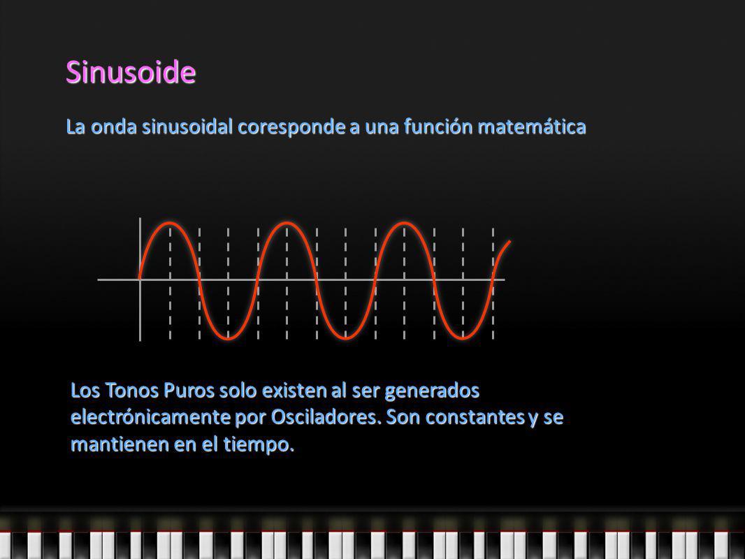 Sinusoide La onda sinusoidal coresponde a una función matemática Los Tonos Puros solo existen al ser generados electrónicamente por Osciladores. Son c