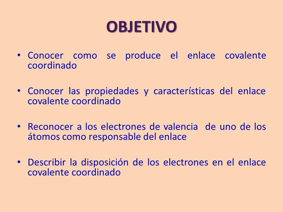 OBJETIVO Conocer como se produce el enlace covalente coordinado Conocer las propiedades y características del enlace covalente coordinado Reconocer a los electrones de valencia de uno de los átomos como responsable del enlace Describir la disposición de los electrones en el enlace covalente coordinado