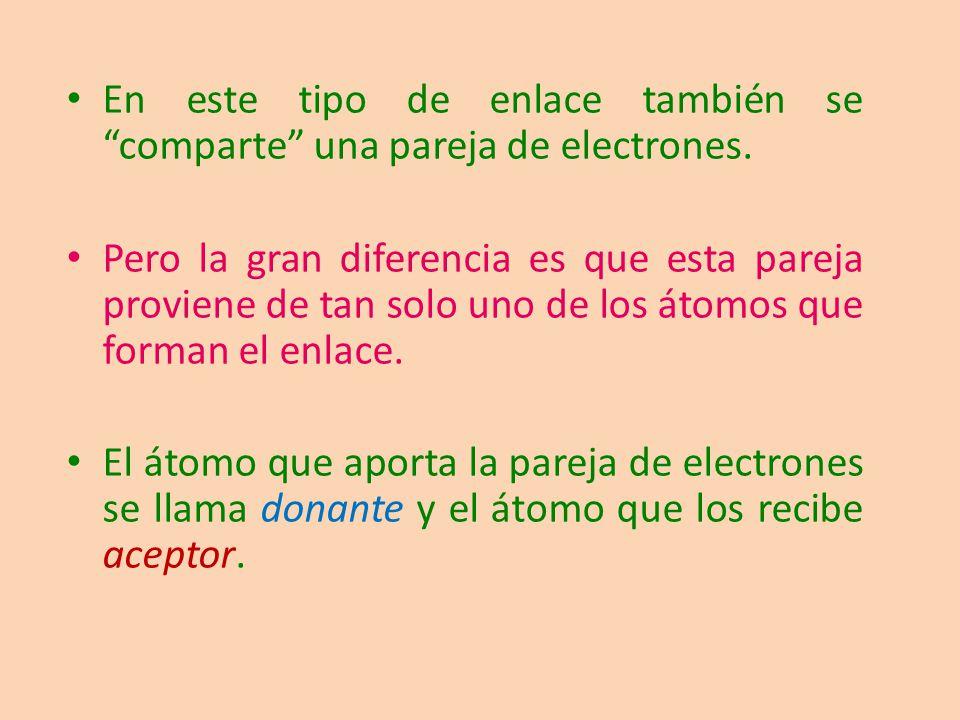 En este tipo de enlace también se comparte una pareja de electrones. Pero la gran diferencia es que esta pareja proviene de tan solo uno de los átomos