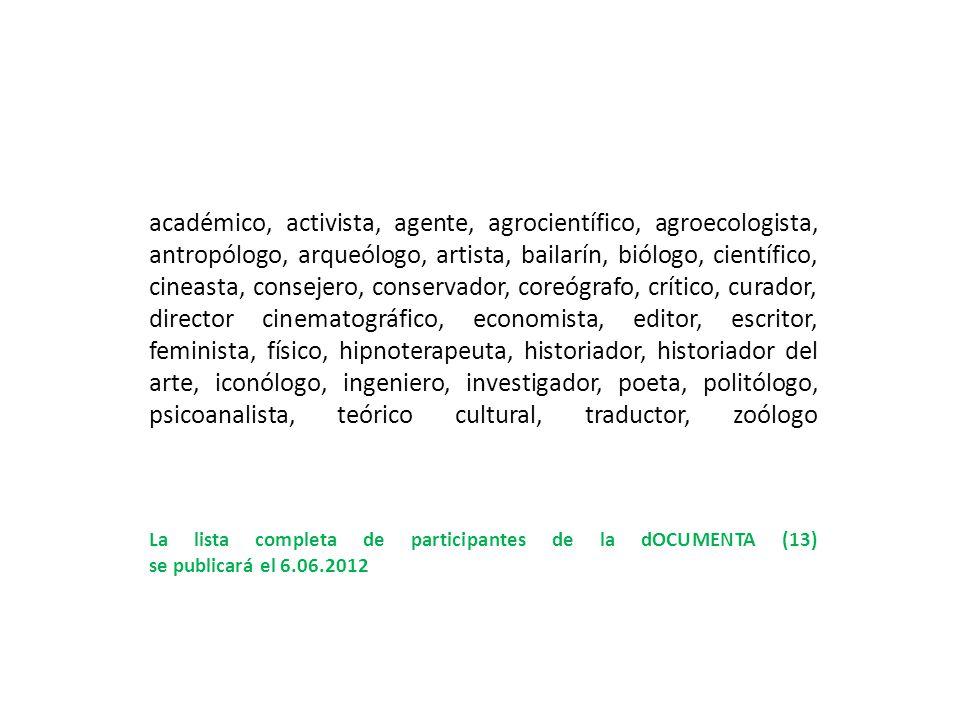 académico, activista, agente, agrocientífico, agroecologista, antropólogo, arqueólogo, artista, bailarín, biólogo, científico, cineasta, consejero, co
