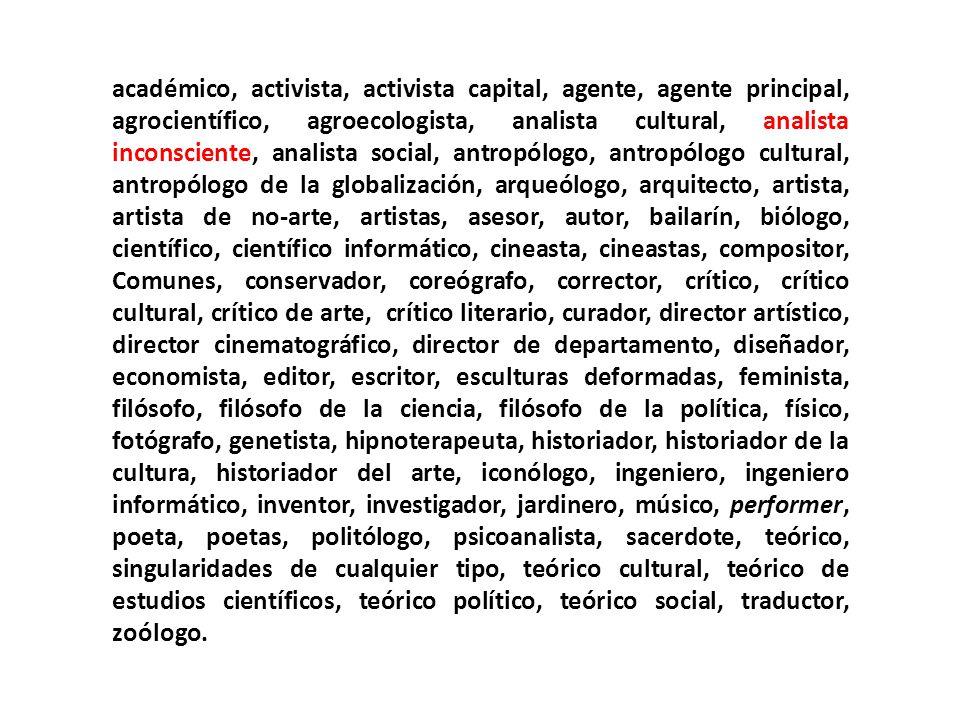 académico, activista, activista capital, agente, agente principal, agrocientífico, agroecologista, analista cultural, analista inconsciente, analista