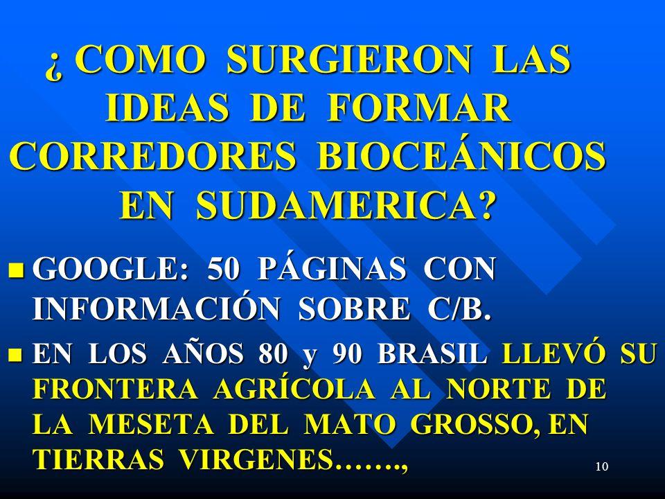 ¿ COMO SURGIERON LAS IDEAS DE FORMAR CORREDORES BIOCEÁNICOS EN SUDAMERICA? GOOGLE: 50 PÁGINAS CON INFORMACIÓN SOBRE C/B. GOOGLE: 50 PÁGINAS CON INFORM