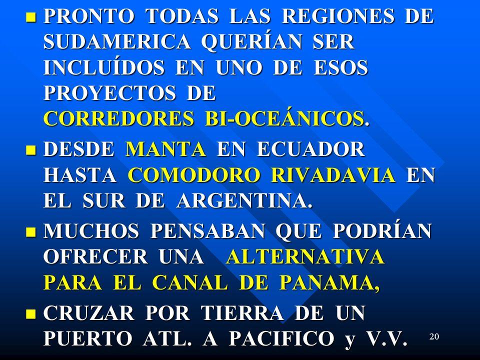PRONTO TODAS LAS REGIONES DE SUDAMERICA QUERÍAN SER INCLUÍDOS EN UNO DE ESOS PROYECTOS DE CORREDORES BI-OCEÁNICOS. PRONTO TODAS LAS REGIONES DE SUDAME