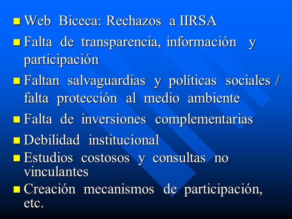 Web Biceca: Rechazos a IIRSA Web Biceca: Rechazos a IIRSA Falta de transparencia, información y participación Falta de transparencia, información y pa