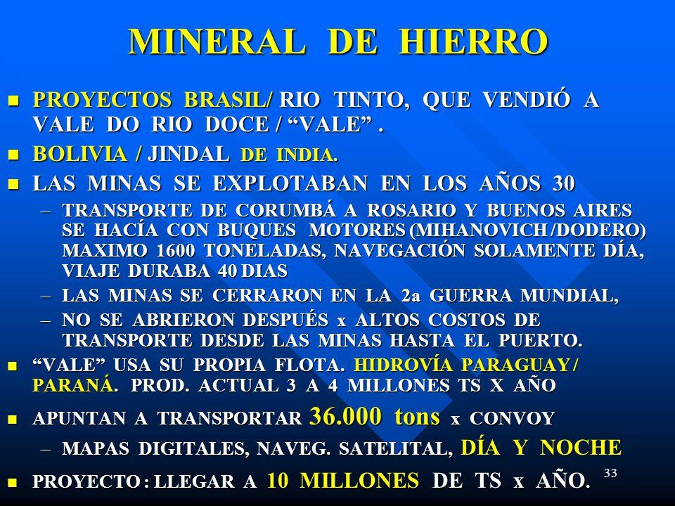 33 MINERAL DE HIERRO PROYECTOS BRASIL/ RIO TINTO, QUE VENDIÓ A VALE DO RIO DOCE / VALE. PROYECTOS BRASIL/ RIO TINTO, QUE VENDIÓ A VALE DO RIO DOCE / V