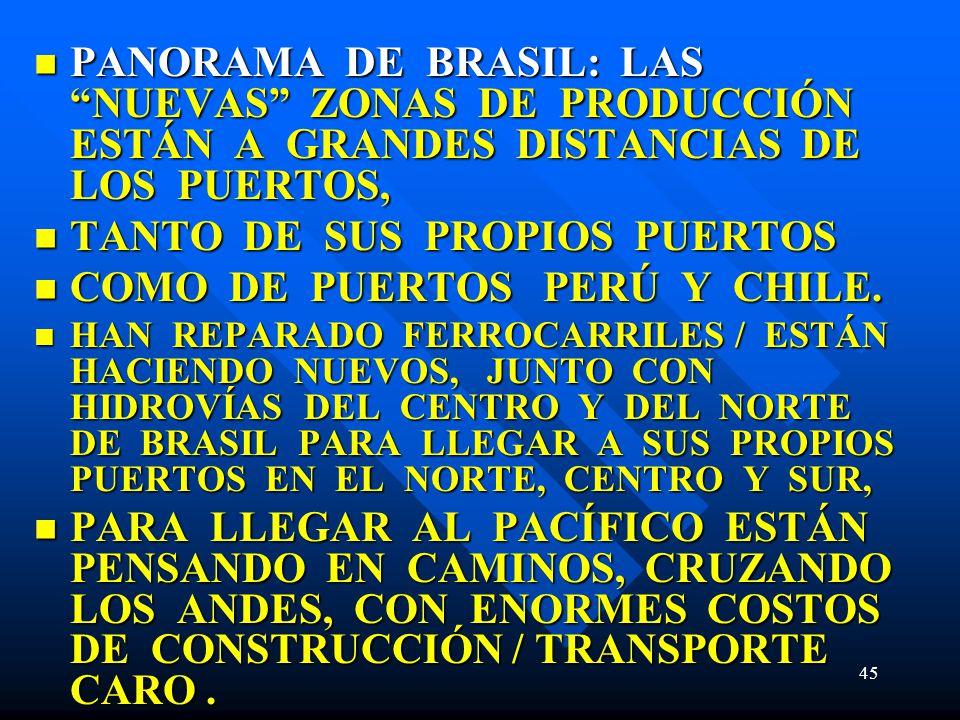 45 PANORAMA DE BRASIL: LAS NUEVAS ZONAS DE PRODUCCIÓN ESTÁN A GRANDES DISTANCIAS DE LOS PUERTOS, PANORAMA DE BRASIL: LAS NUEVAS ZONAS DE PRODUCCIÓN ES