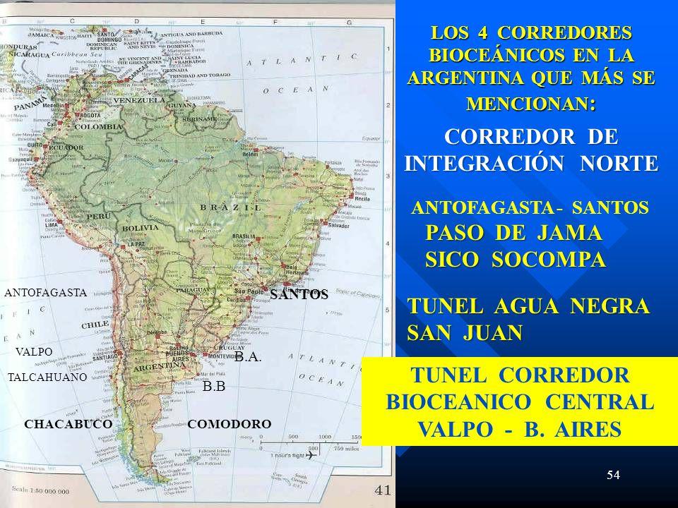 54 CORREDOR DE INTEGRACIÓN NORTE TUNEL CORREDOR BIOCEANICO CENTRAL VALPO - B. AIRES ANTOFAGASTA VALPO TALCAHUANO ANTOFAGASTA - SANTOS B.B LOS 4 CORRED