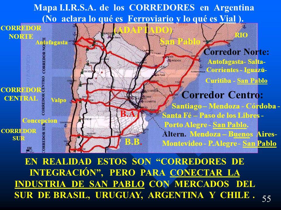 55 Corredores de Integración en la República Argentina Mapa I.I.R.S.A. de los CORREDORES en Argentina (No aclara lo qué es Ferroviario y lo qué es Via