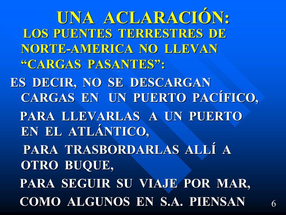 UNA ACLARACIÓN: LOS PUENTES TERRESTRES DE NORTE-AMERICA NO LLEVAN CARGAS PASANTES: LOS PUENTES TERRESTRES DE NORTE-AMERICA NO LLEVAN CARGAS PASANTES: