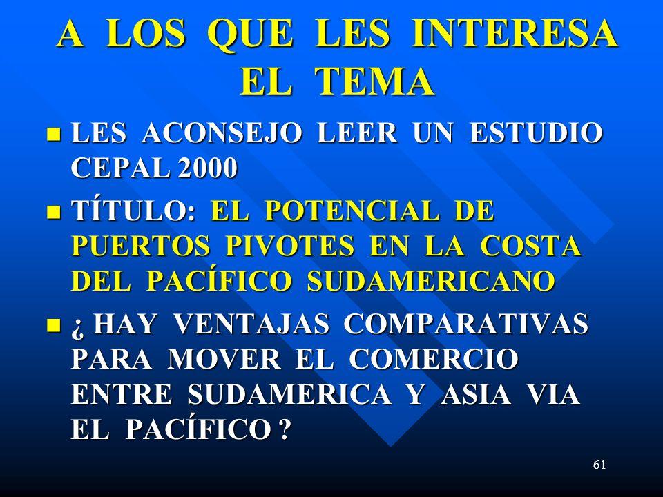 A LOS QUE LES INTERESA EL TEMA LES ACONSEJO LEER UN ESTUDIO CEPAL 2000 LES ACONSEJO LEER UN ESTUDIO CEPAL 2000 TÍTULO: EL POTENCIAL DE PUERTOS PIVOTES