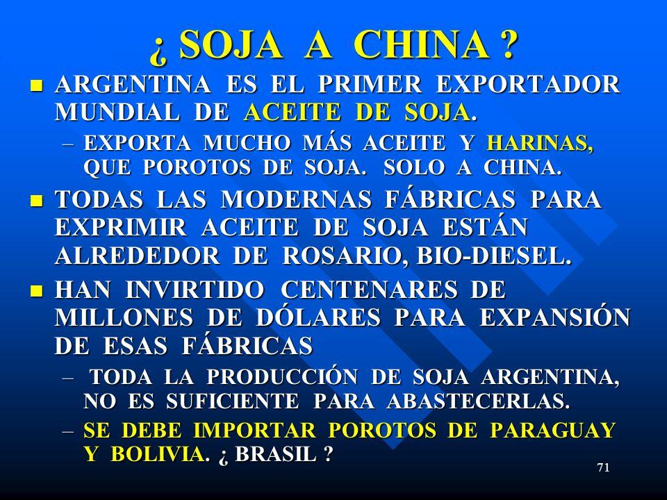 71 ¿ SOJA A CHINA ? ARGENTINA ES EL PRIMER EXPORTADOR MUNDIAL DE ACEITE DE SOJA. ARGENTINA ES EL PRIMER EXPORTADOR MUNDIAL DE ACEITE DE SOJA. –EXPORTA