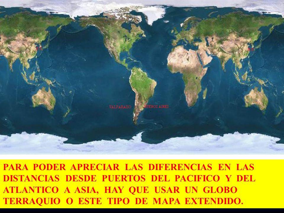73 PARA PODER APRECIAR LAS DIFERENCIAS EN LAS DISTANCIAS DESDE PUERTOS DEL PACIFICO Y DEL ATLANTICO A ASIA, HAY QUE USAR UN GLOBO TERRAQUIO O ESTE TIP