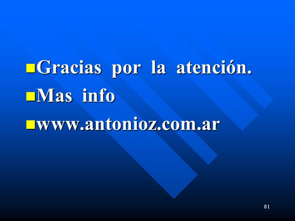 Gracias por la atención. Gracias por la atención. Mas info Mas info www.antonioz.com.ar www.antonioz.com.ar 81