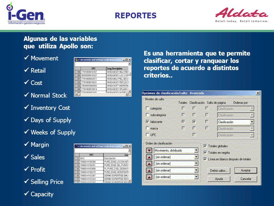 REPORTES Es una herramienta que te permite clasificar, cortar y ranquear los reportes de acuerdo a distintos criterios.. Algunas de las variables que