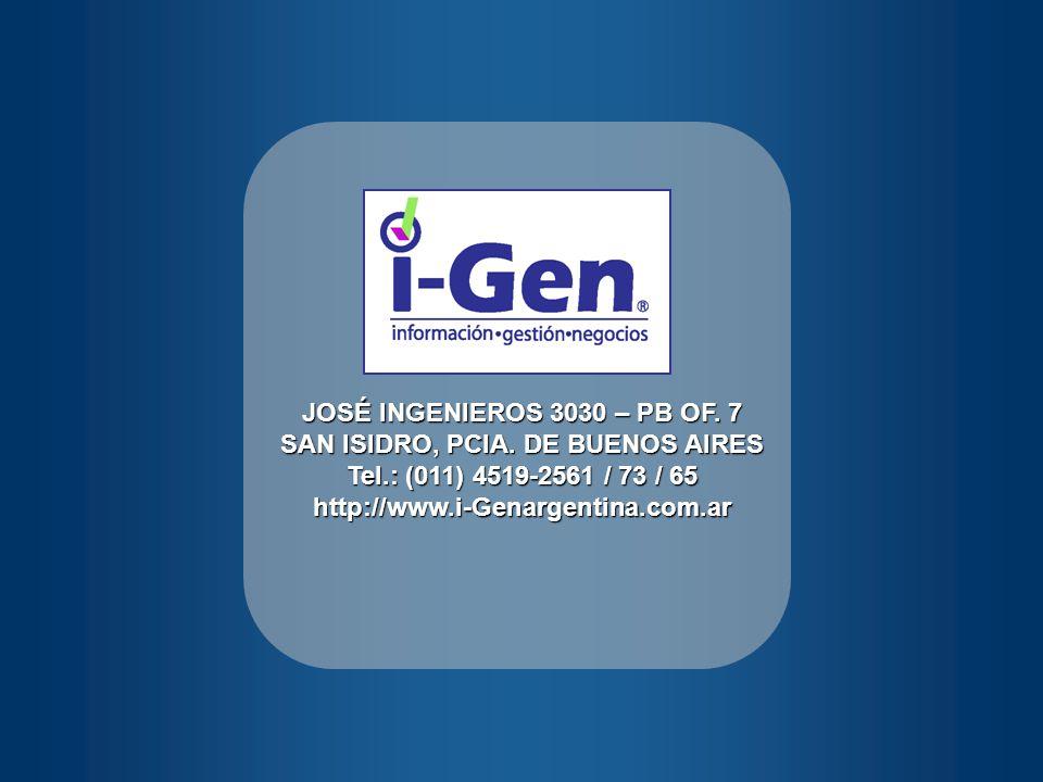 JOSÉ INGENIEROS 3030 – PB OF. 7 SAN ISIDRO, PCIA. DE BUENOS AIRES Tel.: (011) 4519-2561 / 73 / 65 http://www.i-Genargentina.com.ar