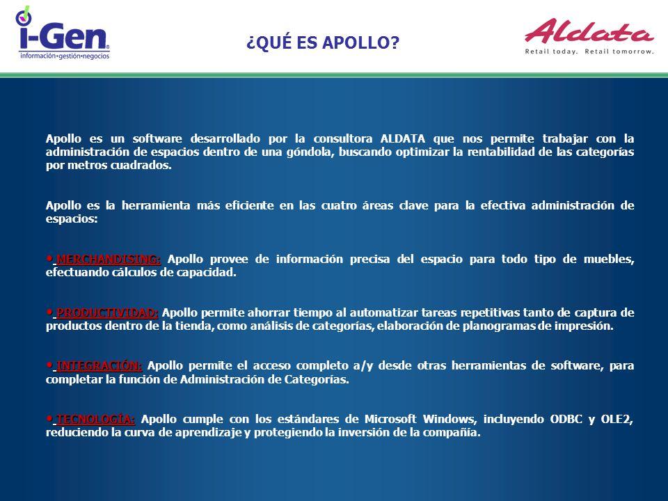 ¿QUÉ ES APOLLO? Apollo es un software desarrollado por la consultora ALDATA que nos permite trabajar con la administración de espacios dentro de una g