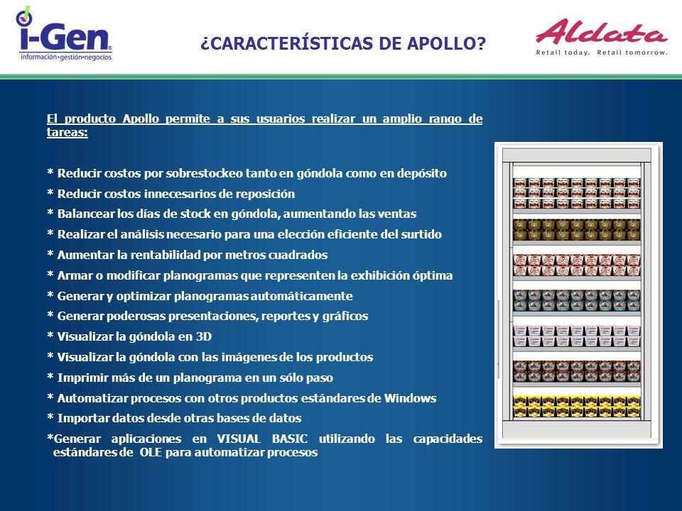 ¿CARACTERÍSTICAS DE APOLLO? El producto Apollo permite a sus usuarios realizar un amplio rango de tareas: * Reducir costos por sobrestockeo tanto en g
