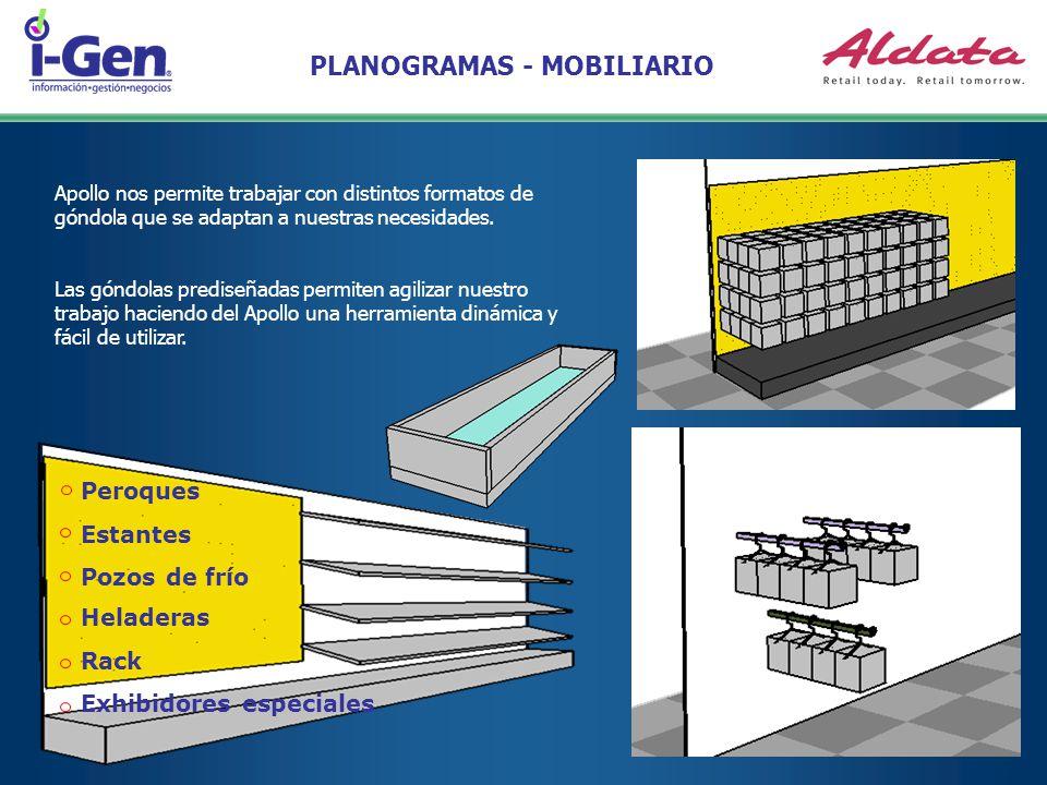 PLANOGRAMAS - MOBILIARIO Apollo nos permite trabajar con distintos formatos de góndola que se adaptan a nuestras necesidades. Peroques Estantes Pozos