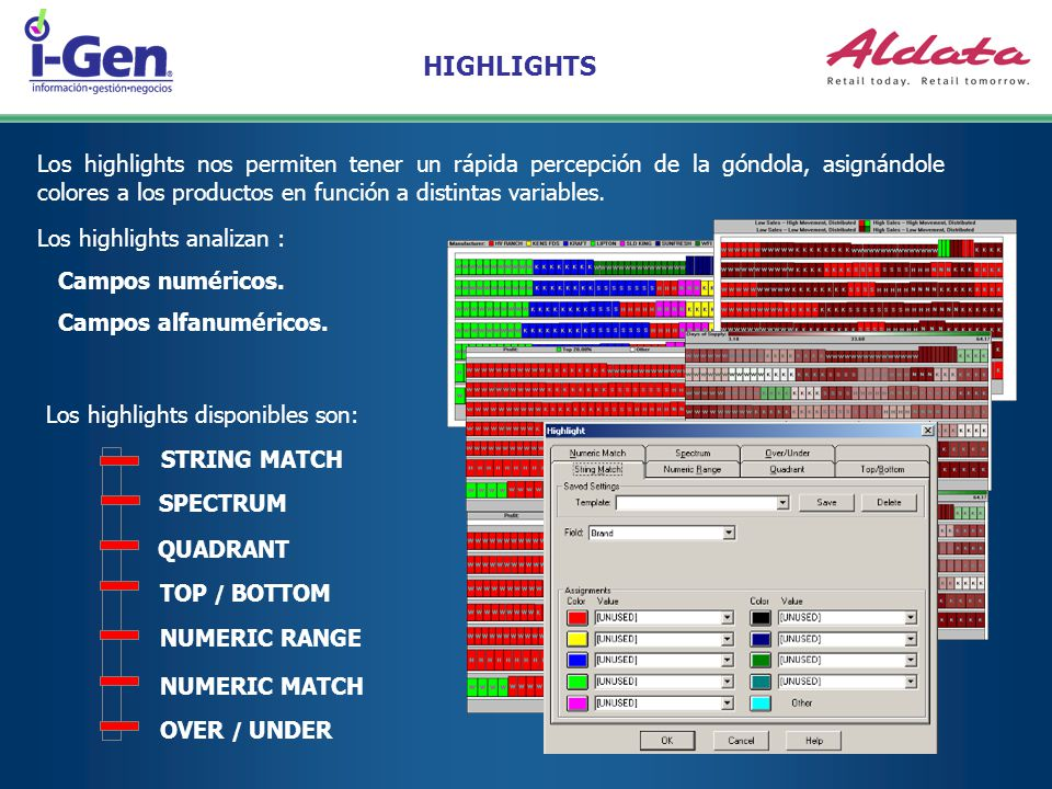 HIGHLIGHTS Los highlights nos permiten tener un rápida percepción de la góndola, asignándole colores a los productos en función a distintas variables.