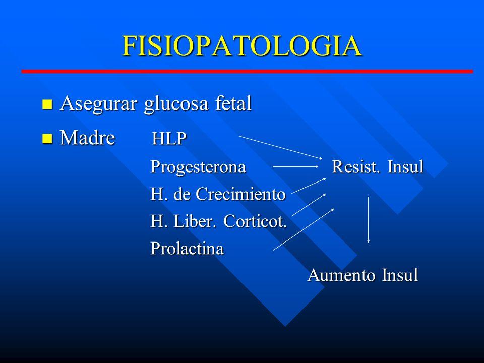 FISIOPATOLOGIA Asegurar glucosa fetal Asegurar glucosa fetal Madre HLP Madre HLP ProgesteronaResist.