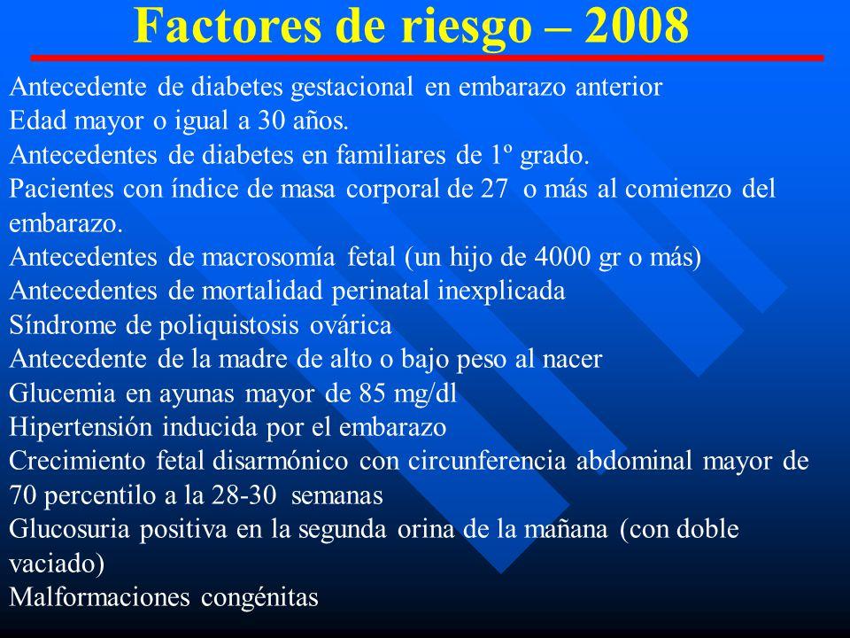 Antecedente de diabetes gestacional en embarazo anterior Edad mayor o igual a 30 años.