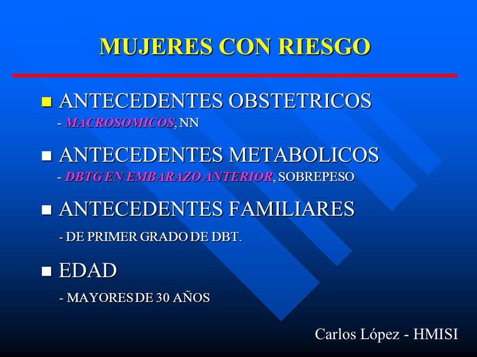 MUJERES CON RIESGO ANTECEDENTES OBSTETRICOS ANTECEDENTES OBSTETRICOS - MACROSOMICOS, NN - MACROSOMICOS, NN ANTECEDENTES METABOLICOS ANTECEDENTES METABOLICOS - DBTG EN EMBARAZO ANTERIOR, SOBREPESO - DBTG EN EMBARAZO ANTERIOR, SOBREPESO ANTECEDENTES FAMILIARES ANTECEDENTES FAMILIARES - DE PRIMER GRADO DE DBT.