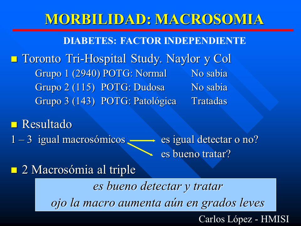 MORBILIDAD: MACROSOMIA Toronto Tri-Hospital Study.