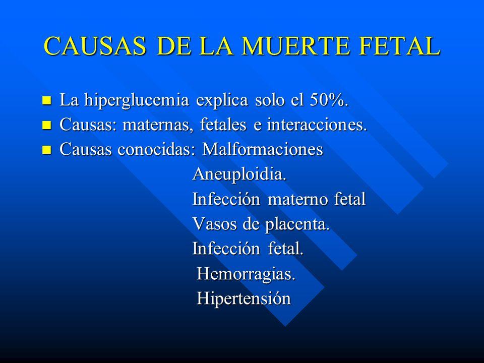 CAUSAS DE LA MUERTE FETAL La hiperglucemia explica solo el 50%.