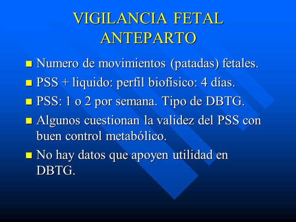 VIGILANCIA FETAL ANTEPARTO Numero de movimientos (patadas) fetales.