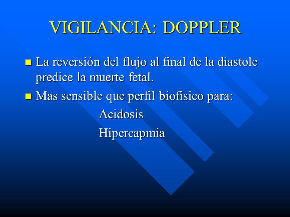 VIGILANCIA: DOPPLER La reversión del flujo al final de la diastole predice la muerte fetal.